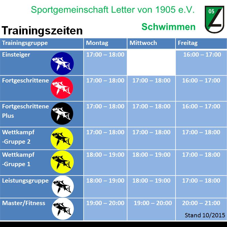 Trainingszeiten SG Letter 05 10-15